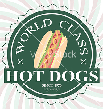 Free hotdog sandwich world class label stamp design vector - vector #233533 gratis