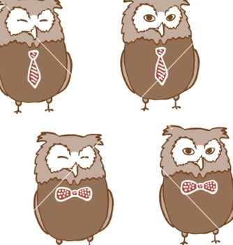Free set of cute owls in ties vector - Free vector #235103