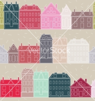 Free houses seamless pattern vintage vector - Kostenloses vector #235283