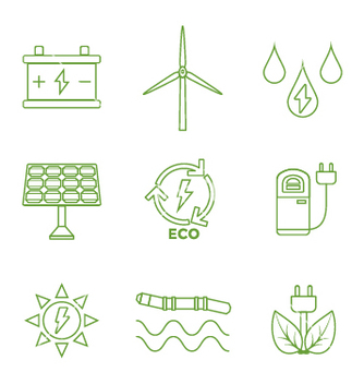 Free green outline recycle ecology energy icons vector - Free vector #235543