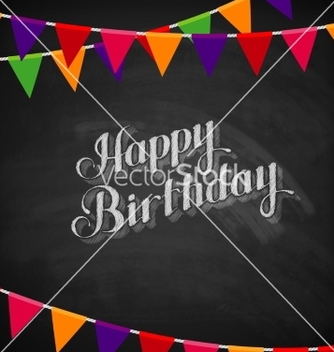 Free chalk happy birthday emblem and flags vector - Kostenloses vector #235713