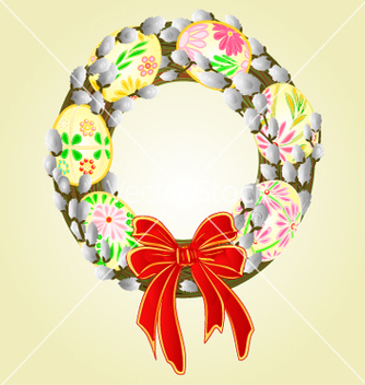 Free easter wreath with pussy willow and easter eggs vector - vector gratuit #235723