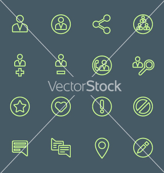 Free green outline various social network actions icons vector - Free vector #235763