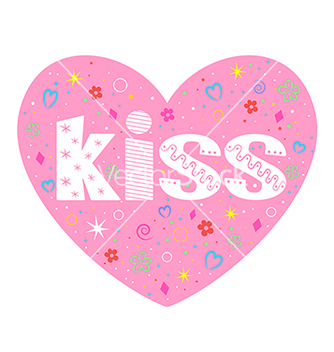Free kiss lettering decorative heart vector - vector gratuit #235853