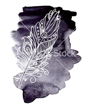 Free watercolor design element feather vector - Free vector #236213