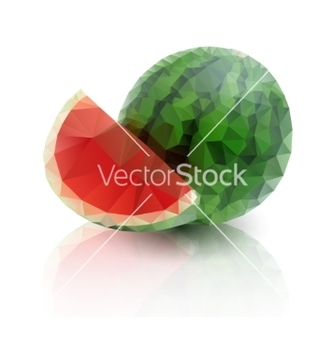 Free ripe watermelon with a slice on white background vector - Kostenloses vector #236343