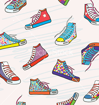 Free seamless pattern with sneakers vector - Free vector #236453