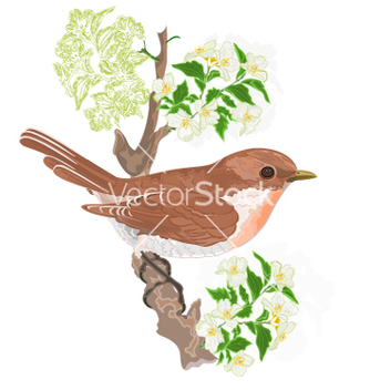 Free bird on a twig jasmine vector - Kostenloses vector #236793