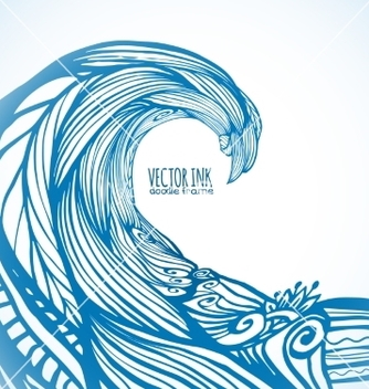 Free blue ornate doodle wave background vector - Free vector #237013
