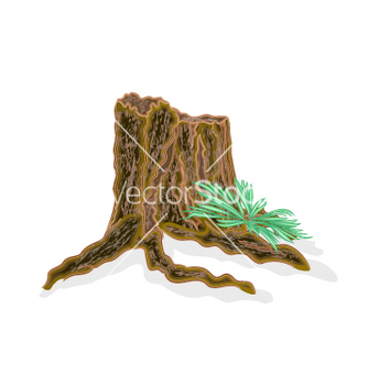 Free stump with ferns vector - vector gratuit #237263