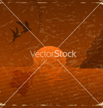 Free vintage card with sunset and seagulls vector - Free vector #238143
