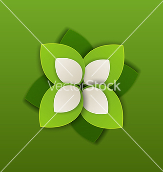 Free eco label made in paper green leaves vector - Free vector #238163