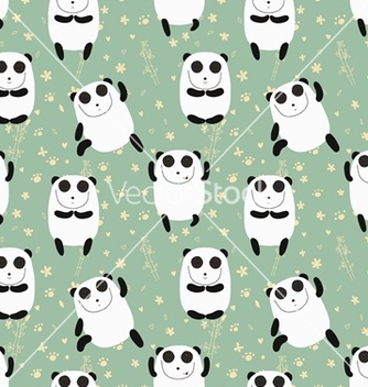 Free cartoon pattern with cute panda guru vector - Free vector #238193