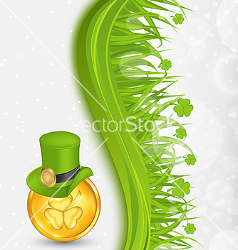 Free natural background with coin hat shamrocks grass vector - vector gratuit #238223