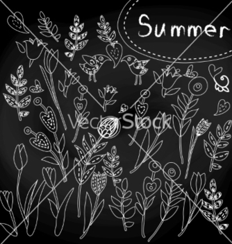 Free floral set on chalkboard vector - Free vector #238243