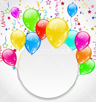 Free birthday invitation with multicolored balloons and vector - vector gratuit #238383