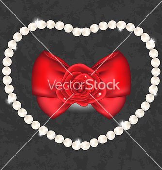 Free red rose with bow and pearls for valentine day vector - Kostenloses vector #238683