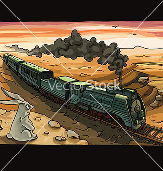 Free steam locomotive and rabbit vector - Free vector #238843