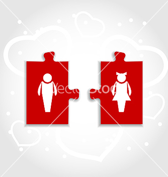 Free couple of puzzle human icons for valentines day vector - vector gratuit #238953