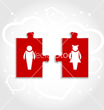 Free couple of puzzle human icons for valentines day vector - Free vector #238953