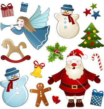 Free christmas isolated elements vector - Free vector #238983