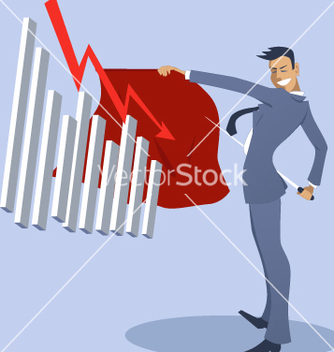 Free businessman bullfighter with an attacking graph vector - Free vector #239423