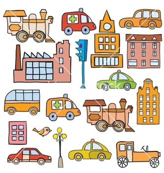 Free transport in the style of cartoon vector - бесплатный vector #240073