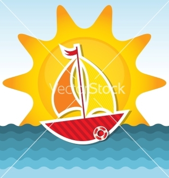 Free sailing boat on the sea vector - vector gratuit(e) #240703