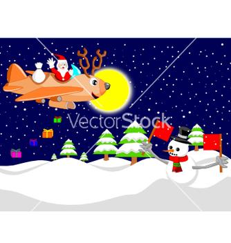 Free santa with reindeer plane vector - vector gratuit #242413