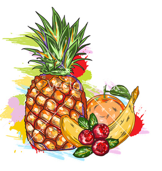 Free fruits with colorful splashes vector - Free vector #243303