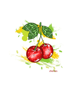 Free cherries with colorful splashes vector - Kostenloses vector #243333