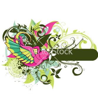 Free bird with floral vector - Kostenloses vector #244363