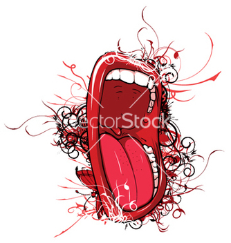 Free mouth with floral vector - vector #245313 gratis