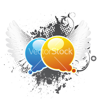 Free chat bubbles with grunge background and wings vector - Free vector #246403