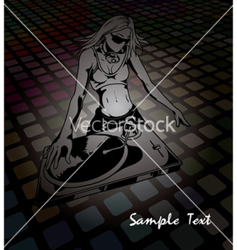 Free girl with turntable vector - Free vector #246473