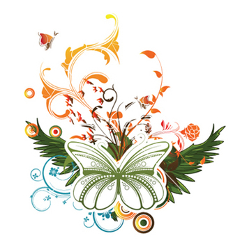 Free butterfly with floral vector - vector gratuit #247123