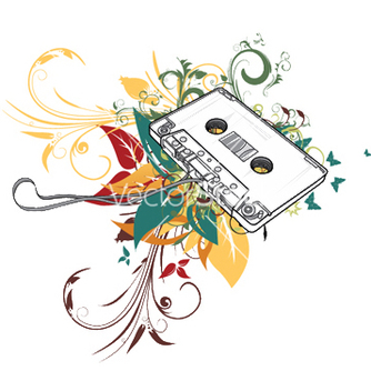 Free cassette with floral vector - Free vector #247203