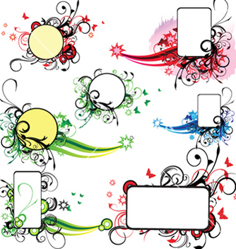 Free abstract spring floral frames set vector - Free vector #249163