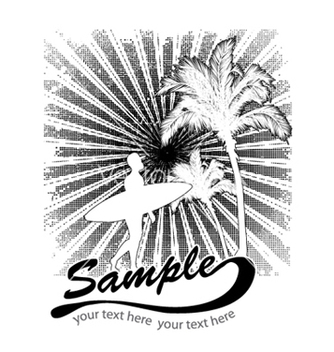 Free summer tshirt design with palm trees vector - vector gratuit #249413