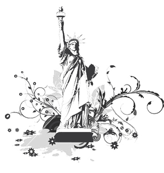 Free statue with floral and splash vector - Free vector #249683