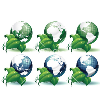 Free planet earth with leaves different views vector - vector gratuit #251333