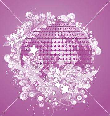 Free discoball with floral vector - vector gratuit #253113