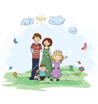 Free family in the park vector - Kostenloses vector #254223