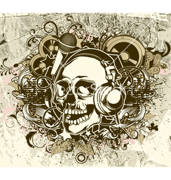 Free grunge music background with skull vector - Kostenloses vector #254283