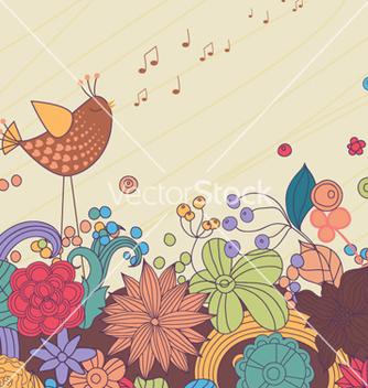 Free bird with floral vector - Kostenloses vector #254483