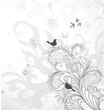 Free vintage floral background with birds vector - Kostenloses vector #255423