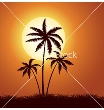 Free summer with palm trees vector - vector gratuit #257013