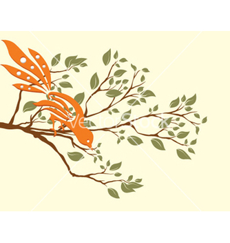 Free bird on a branch vector - Free vector #257103