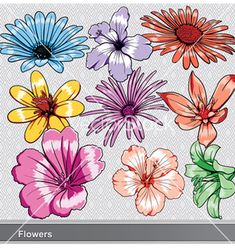 Free colorful flowers set vector - Free vector #257203