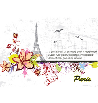 Free eiffel tower with floral and grunge vector - Kostenloses vector #259573